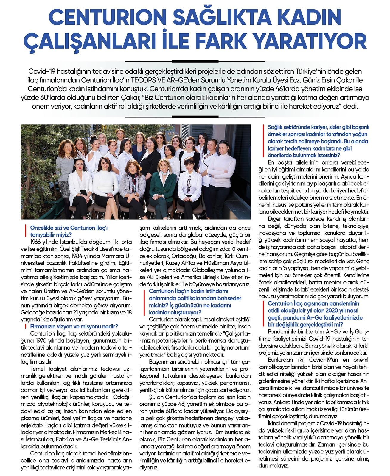 CENTURION Sağlıkta Kadın Çalışanları ile Fark Yaratıyor