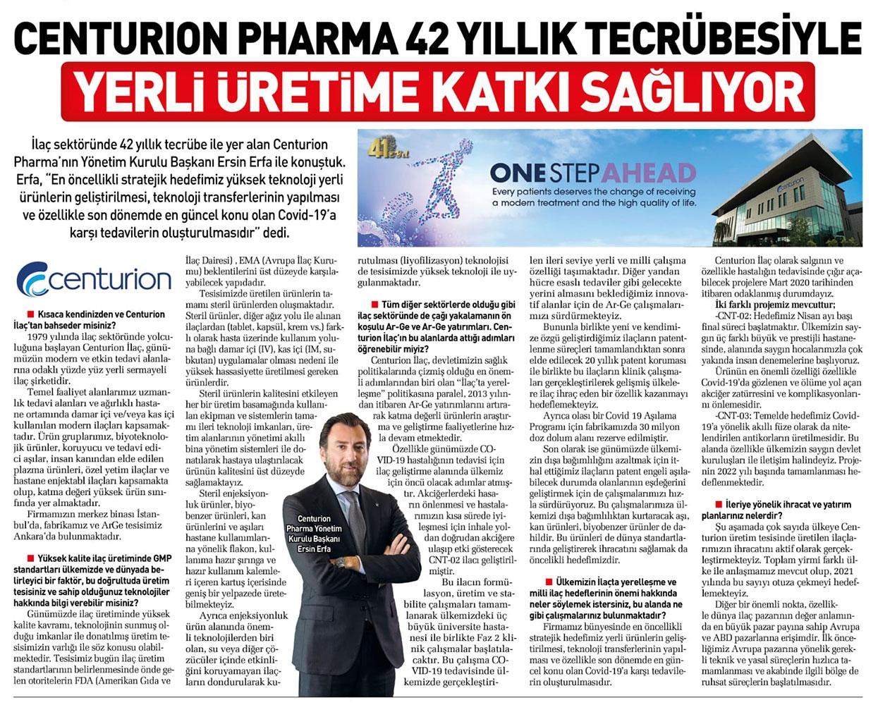 Centurion Pharma 42 Yıllık Tecrübesiyle Yerli Üretime Katkı Sağlıyor